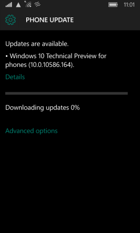 Lumia 530 running Windows 10 Mobile 10586.164